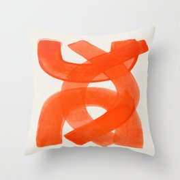 Mid Century Modern Abstract Painting Orange Watercolor Brush Strokes Throw Pillow