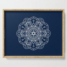 Navy Blue and White Flower Mandala Serving Tray