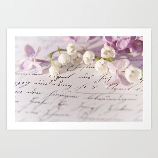 Loveletter - Springflower and old letter - Photography Art Print