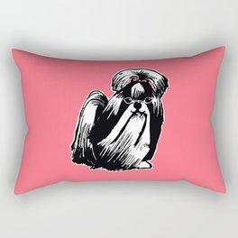 Longhaired Shih Tzu Illustration Rectangular Pillow