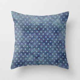 Amazing Watercolor Snowflakes Pattern on the dark blue background Throw Pillow