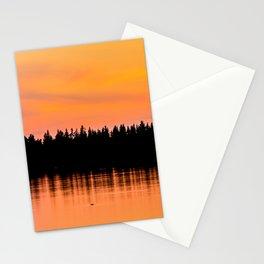 Orange Sunset With Forest Reflection On Lake Stationery Cards
