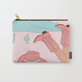 Chillin, Girl in Cowboy Boots with Hat in the Desert Enjoying Life Pastel Blush Pink and Mint Color Carry-All Pouch