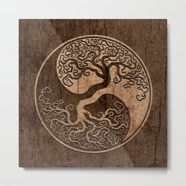 Rough Wood Grain Effect Tree of Life Yin Yang Metal Print