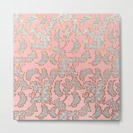 Beautiful Pink Grey and Rose Gold Floral Pattern Metal Print