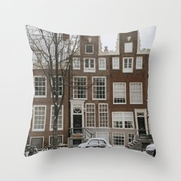 Oude Fiat500 in Amsterdam   Snow in Amsterdam   White wonderland   Fine art travel photography  Throw Pillow