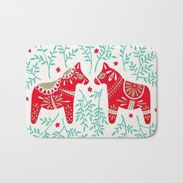 Swedish Dala Horses – Red & Mint Palette Bath Mat