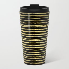 Gold and black stripes minimal modern painted abstract painting minimalist decor nursery Travel Mug