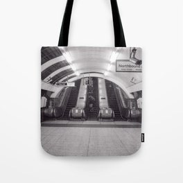 London Underground in black and white Tote Bag