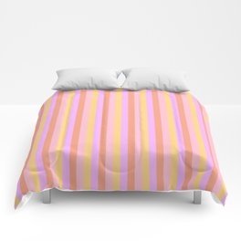 Hibiscus Hawaiian Flower Cabana Stripes in Pink, Yellow, Peach and Lilac Comforters