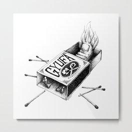 Combustible Thumb for dark tees Metal Print