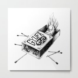 Combustible Thumb for dark tees Metal Print