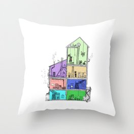 Home Sweet Home (Color) Throw Pillow