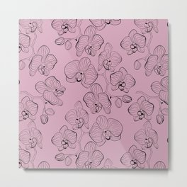 Retro . Orchid flowers on a pink background . Metal Print