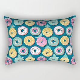 Undercover donuts // turquoise background pastel colors fruit donuts Rectangular Pillow