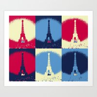 eiffel tower Art Prints featuring Eiffel Tower by Aloke Design