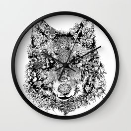 floral animals -black and white wolf Wall Clock