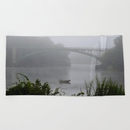 Foggy Fishing Day on the Delaware River Beach Towel