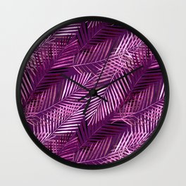 Lilac palm leaves. Wall Clock