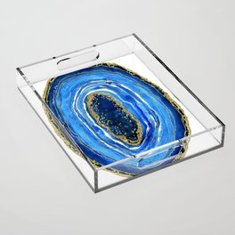 Cobalt blue and gold geode in watercolor Acrylic Tray