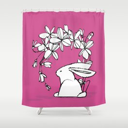 Happy Easter Pink Bunny and Flowers 2 Shower Curtain