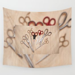 Few various scissors bunch Wall Tapestry
