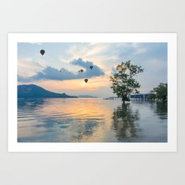 Hot air balloons over Phuket Art Print