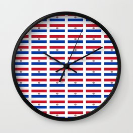 flag of paraguay 2 -paraguyan,asuncion,spanish, south america, latin america,pan flute,coffee,forest Wall Clock