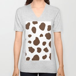 Brown Cow Print Background Unisex V-Neck