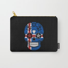 Sugar Skull with Roses and Flag of Iceland Carry-All Pouch