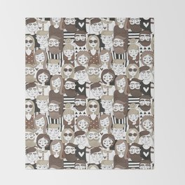 Crowd Pattern Throw Blanket