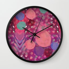 """Abstract polka dots in pink and pastel colors"" Wall Clock"