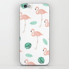 Hand painted pastel  pink flamingo tropical leaf watercolor pattern iPhone & iPod Skin