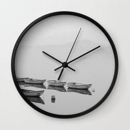 Small boat lake black white Wall Clock