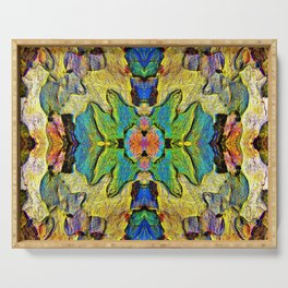 Colorful  Nature Wood Pattern Psychedelic Art Serving Tray