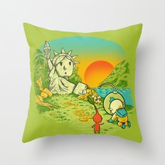 Planet of the Pikminis Throw Pillow