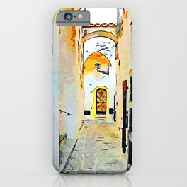 Foreshortening of the alley with arches iPhone Case