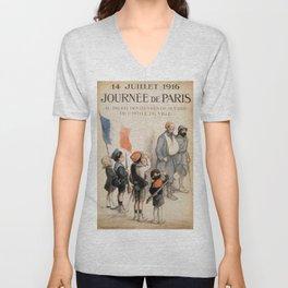 Vintage poster - Journee de Paris Unisex V-Neck
