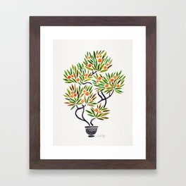 Bonsai Tree – Orange Fruit Framed Art Print