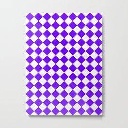 Diamonds - White and Indigo Violet Metal Print