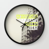 adventure Wall Clocks featuring Adventure by Tina Crespo
