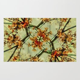 Floral Motif Print Pattern Collage Rug