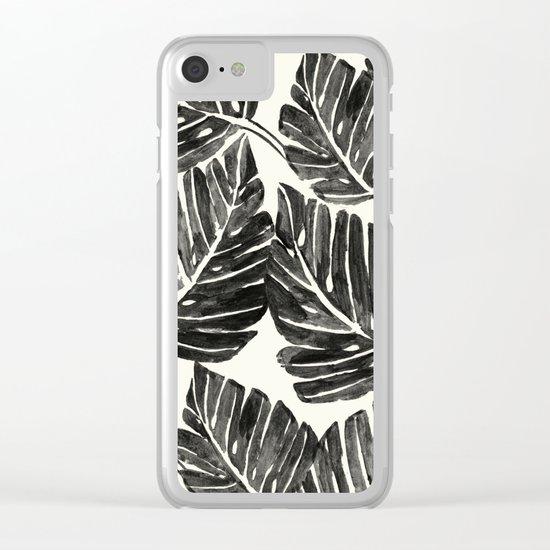 Jungle Leaves - Black Clear iPhone Case