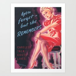 Vintage Poster- You Forget But She Remembers Art Print