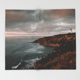 California Coastline Sunset II Throw Blanket