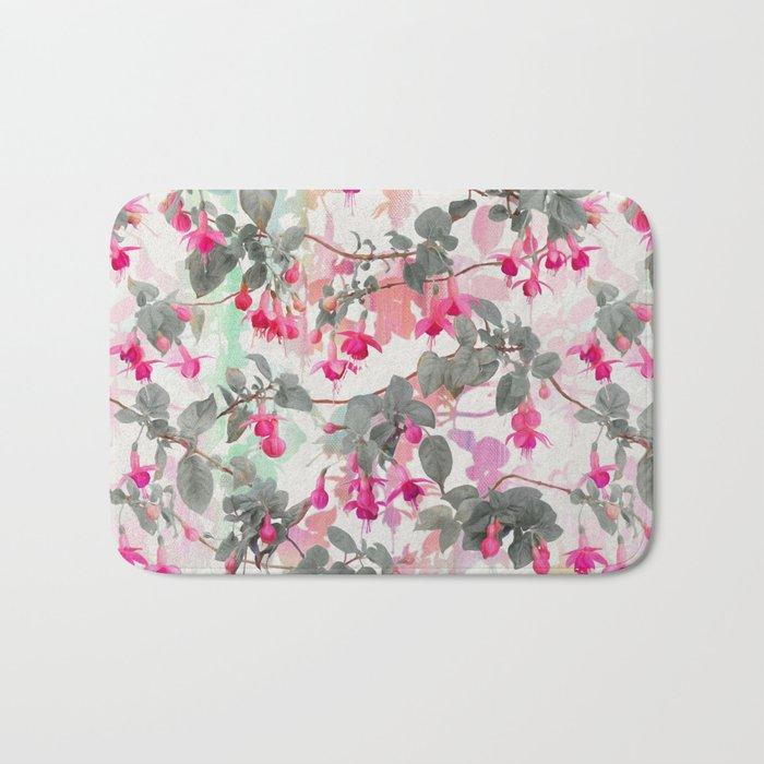 Rainbow Fuchsia Floral Pattern - with grey Bath Mat