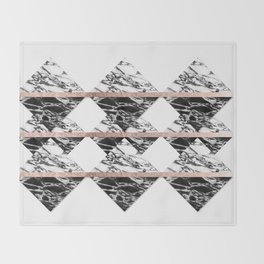 Modern Chic Black White Marble and Rose Gold Strip Throw Blanket