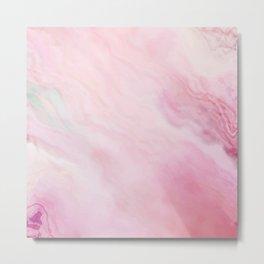 Painted Rose Marble Metal Print