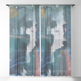 Exhilarated: a vibrant, abstract, mixed-media piece in greens and pinks by Alyssa Hamilton Art  Sheer Curtain