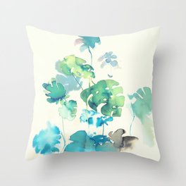 Tropical Leaves Collab. Dylan Silva Throw Pillow